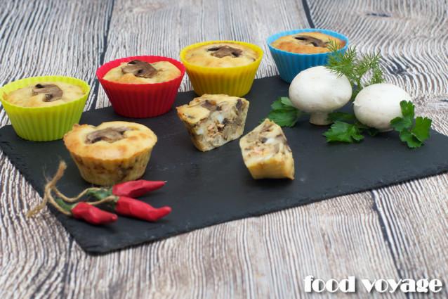 Кексы с начинкой из Горбуши и шампиньонов